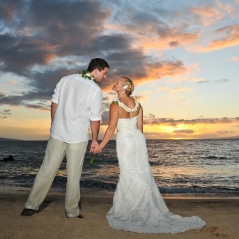 Maui sunset beach wedding